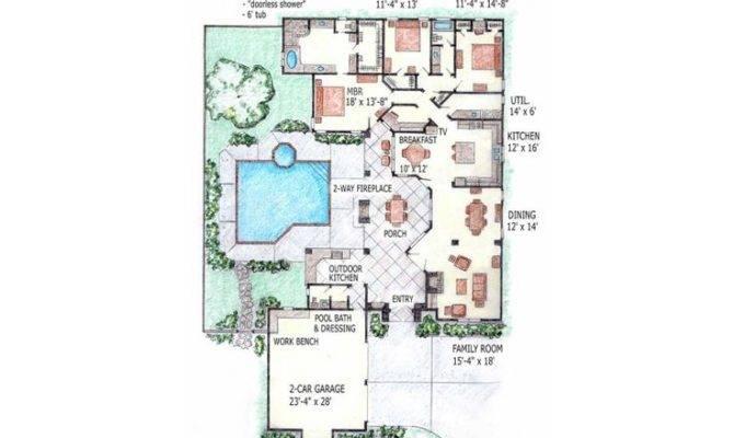 Courtyard Floor Plan House Pinterest