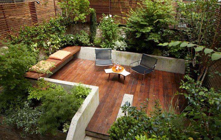 Courtyard Sleek Urban Setting Nice Mix Plants Decking Would