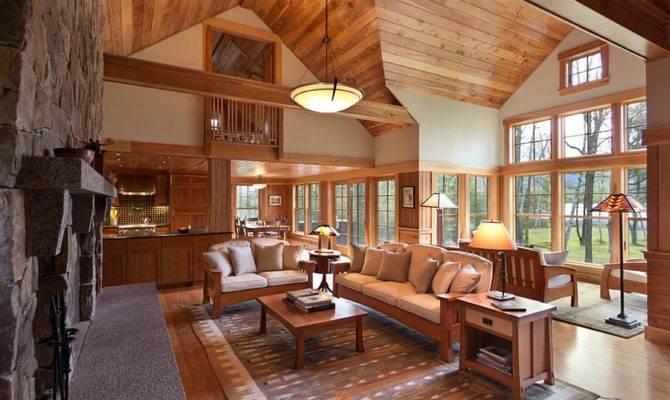 Cozy Cabin Retreat Combines Warmth Wood Bright Open