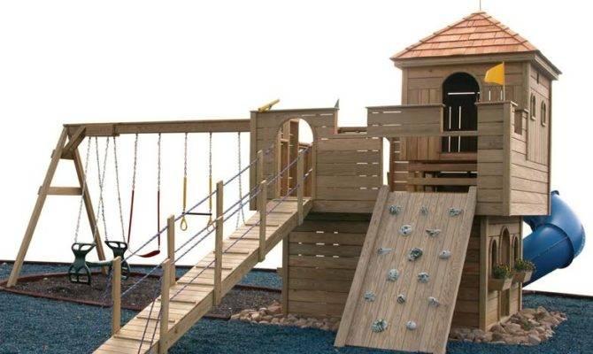 Cozy Retreat Castle Swingset Outdoor Wood Playset