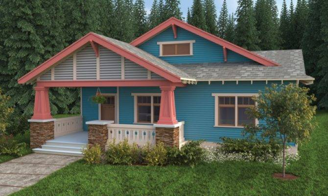 Craftsman House Plan Bungalow Single Story Open Floor