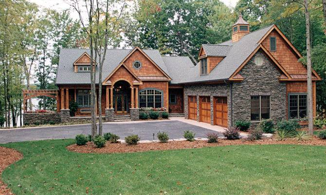 Craftsman Log Stacked Stone Home House