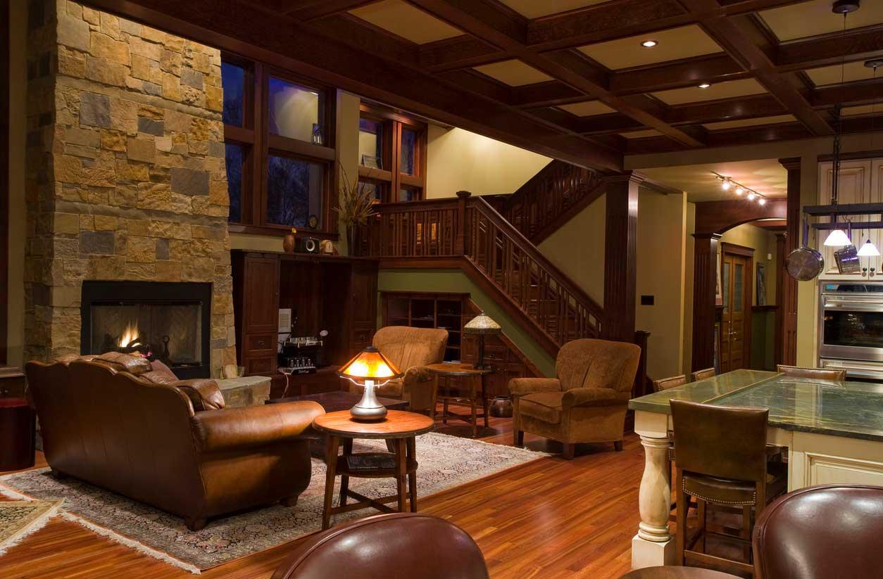Craftsman Style Homes Interior Brown Sofa