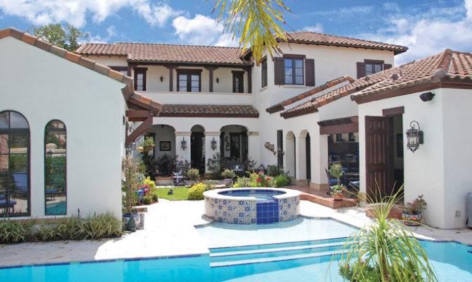 Craftsman Style Pool House Spanish Hacienda Courtyard Plans