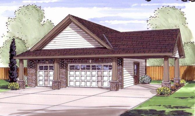 Craftsman Style Two Car Garage Plan Carport Service Door
