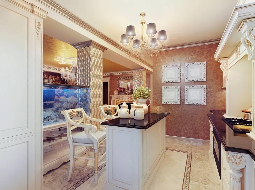 Cream Black Open Plan Kitchen Chandelier Olpos Design