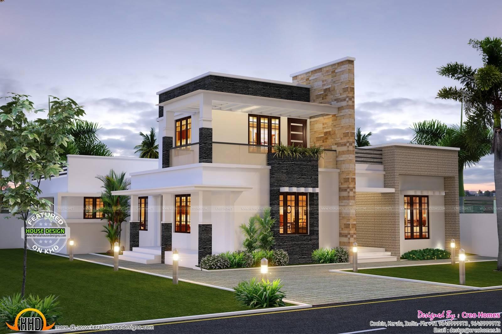 Cute Contemporary Home Kerala Design Floor Plans