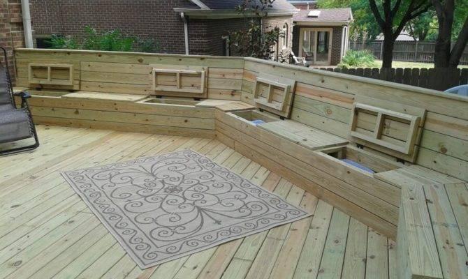 Deck Plan Blueprints Wooden Built Benches