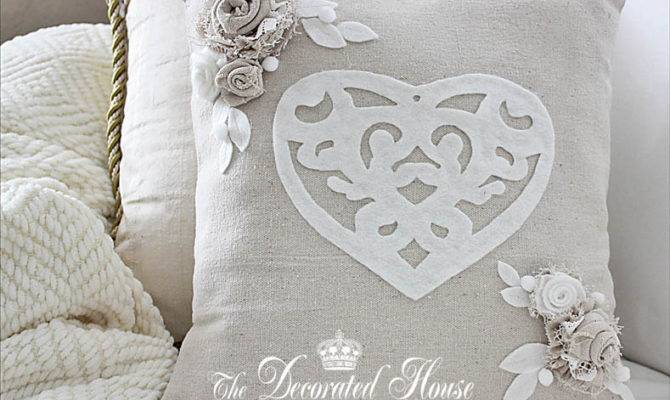 Decorated House Valentine Day Pillow Neutrals Fabric