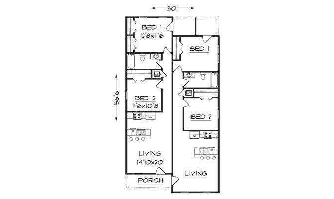 Delightful Narrow Lot Duplex Home Plans Blueprints