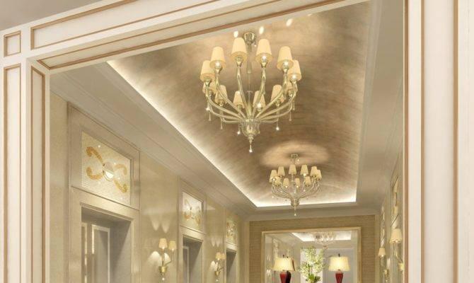 Design Luxury Elevator Hall Ceilings Chandeliers House