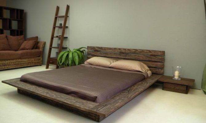 Designs Rustic Bedroom Ideas Wooden Low Profile Bed Frame Ivory Floor