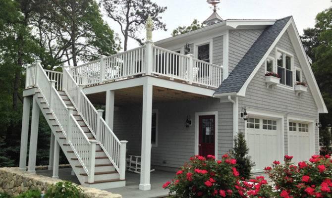 Detached Garage Deck Loft Traditional Exterior