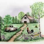 Down Farm Drawing Lena Auxier