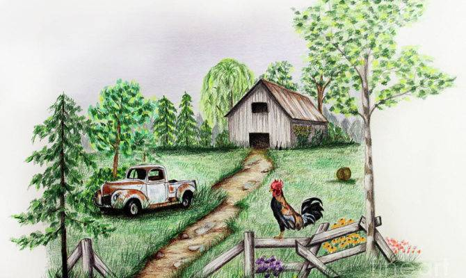 Down Farm Drawing Lena Auxier