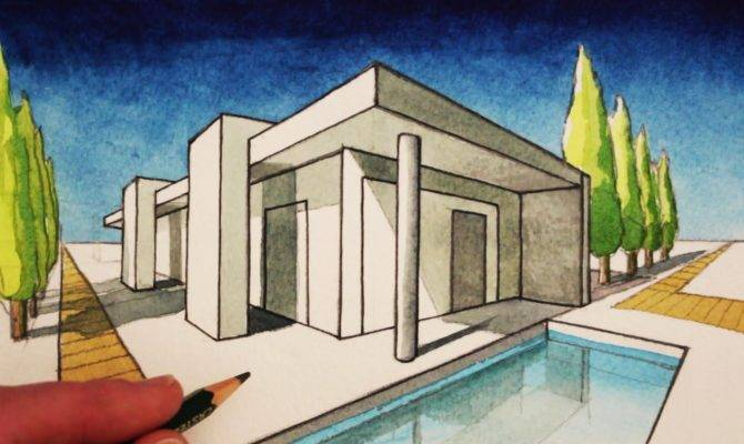 Draw Point Perspective Modern House Youtube