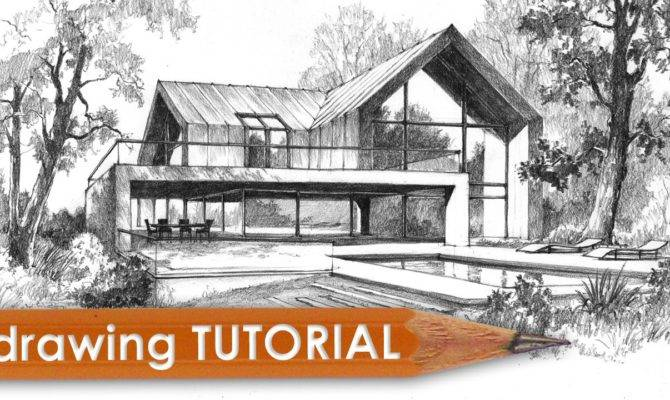 Drawing Tutorial Draw Modern House Youtube