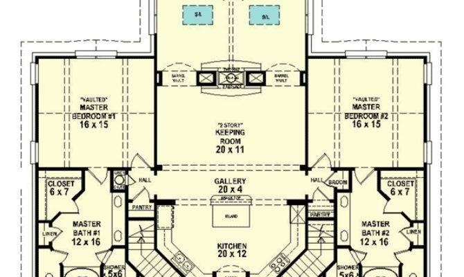 Dual Master Suites Floor Suite Cad
