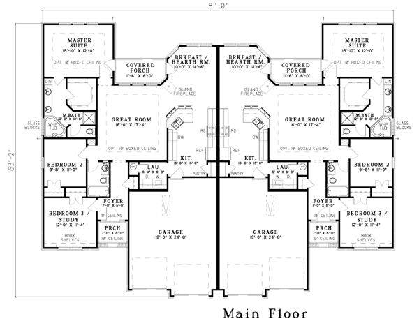 Duplex Floor Plans Garage Homes