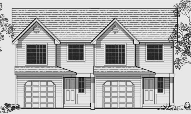 Duplex House Plans Bedroom Townhouse