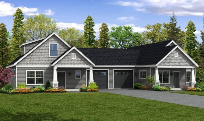 Duplex House Plans Garage Middle Home Desain
