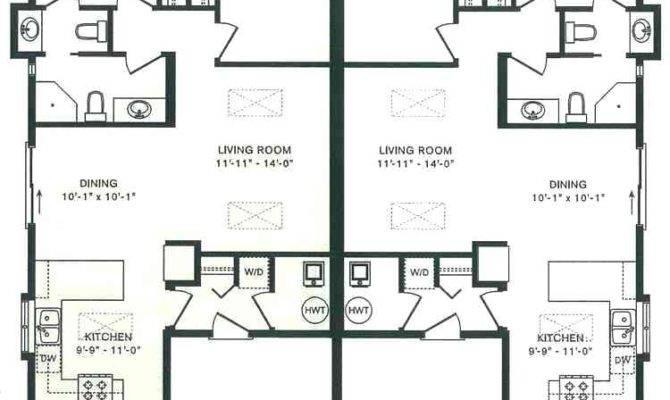 Duplex House Plans Garage Middle