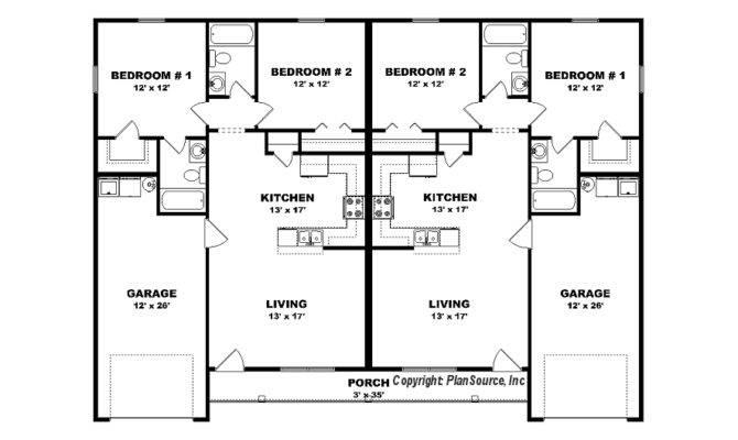 Duplex Plan Garage Plansource Inc