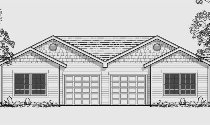 Duplex Plans Garage Middle Home Desain