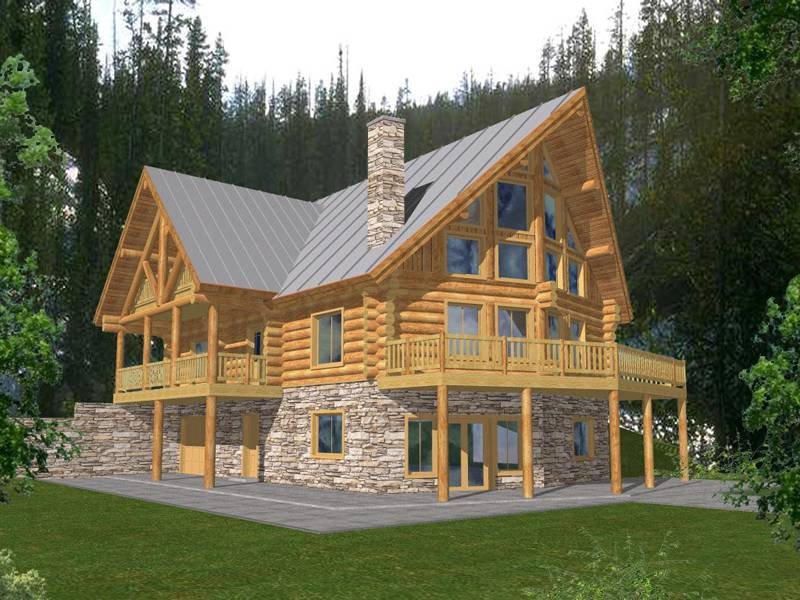 Durand Creek Frame Log Home Plan House Plans