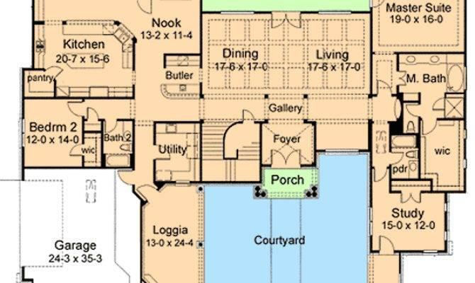 Elegant Courtyard House Plan Architectural