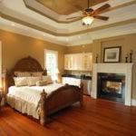 Elegant Master Bedroom Rich Red Hardwood Floors Dual Sided