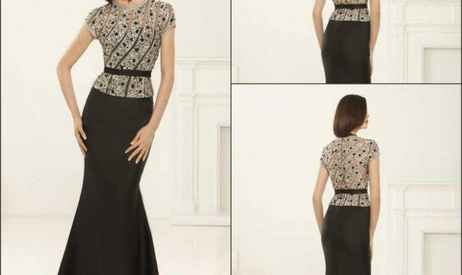 Elegant Style New Design Black Long Evening Dress