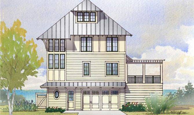 Elevation Beachfront Home Theplancollection House Plan