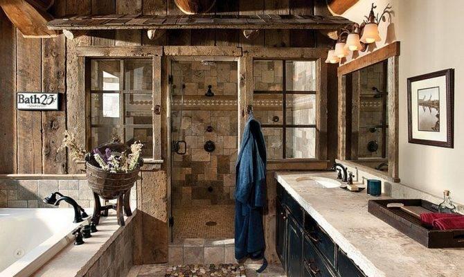 Enchanting Ideas Relaxed Rustic Bathroom