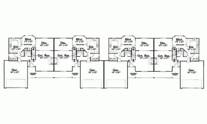 Eplans Country House Plan Two Story Quadplex Square Feet
