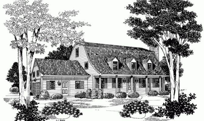 Eplans Dutch House Plan Bell Shaped Gambrel Roof Square Feet