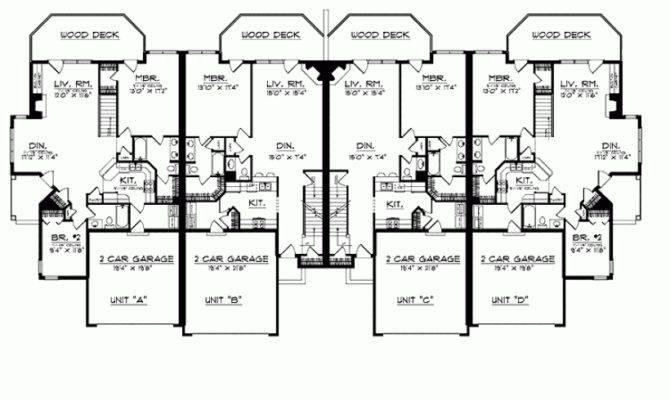 Eplans Prairie House Plan Quadplex Deck Access Square