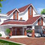 European Model Sloped Roof House Kerala Home Design