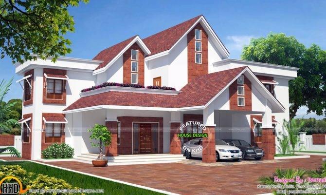 European Model Sloped Roof House Kerala Home Design