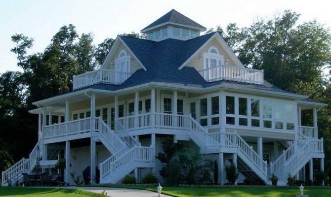 Exterior Columns House Wrap Around Porch Ranch Style