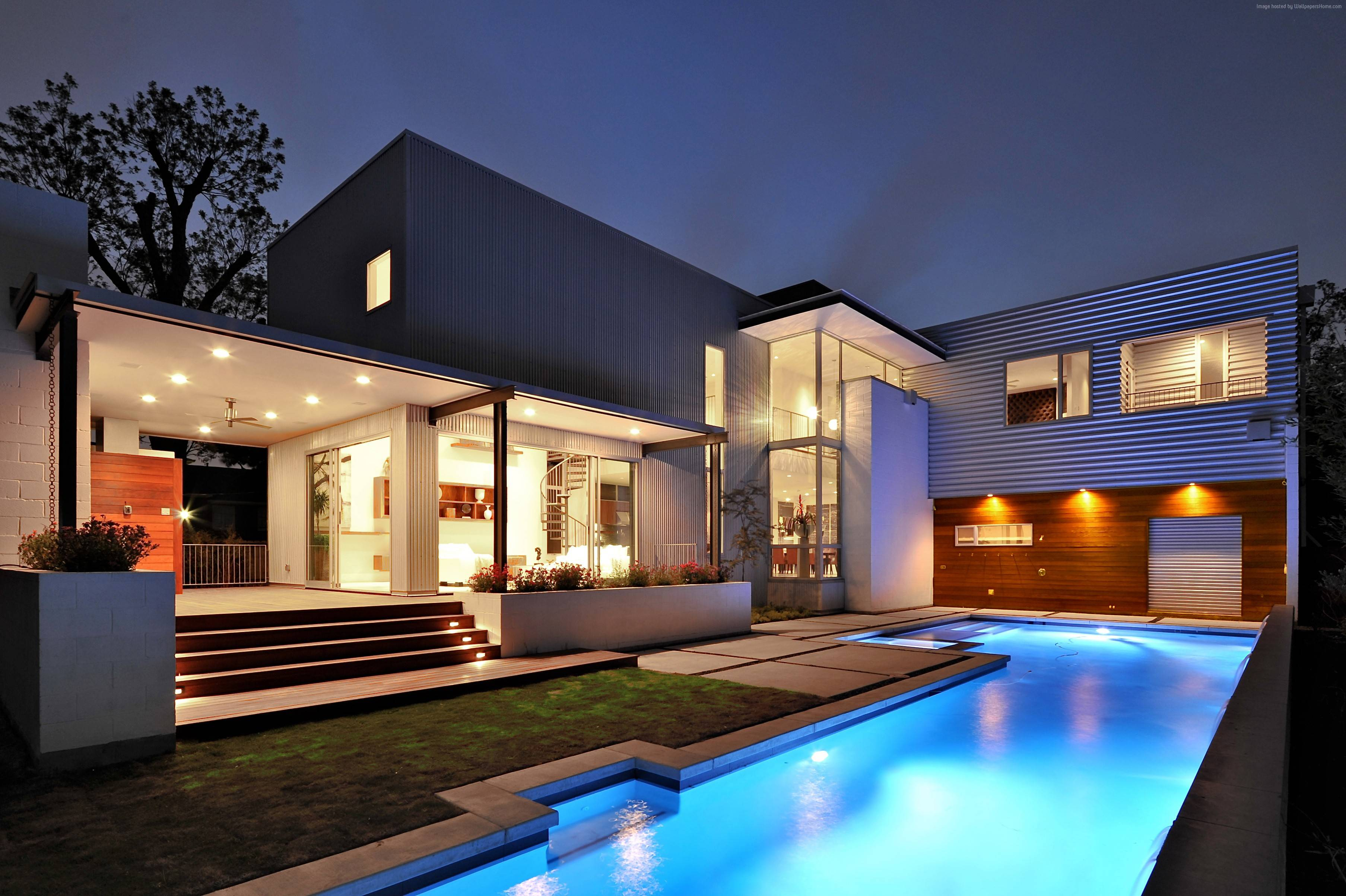 Exterior House Mansion Pool Modern Interior High Tech Yard