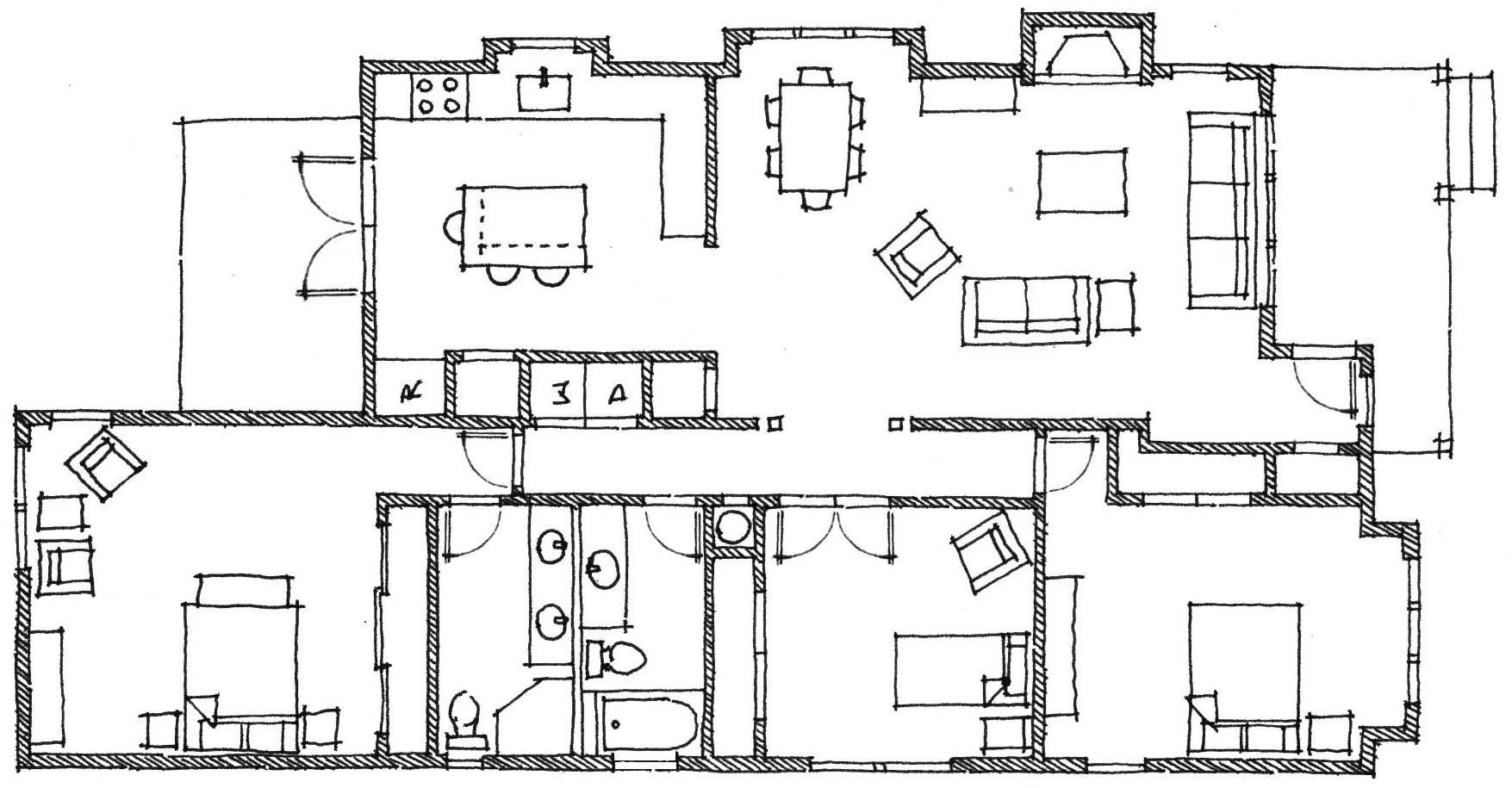 Farm House Floor Plan Colouring Pages