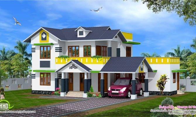 Feet Kerala Model Sloping Roof House