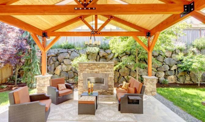 Fireplace Classic Wooden Gazebo Green Roof Small Bridge