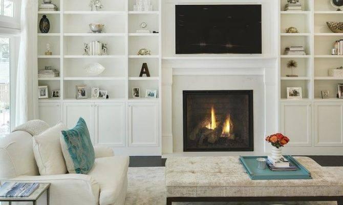 Fireplace Flatscreen Flanked Floor Ceiling Built