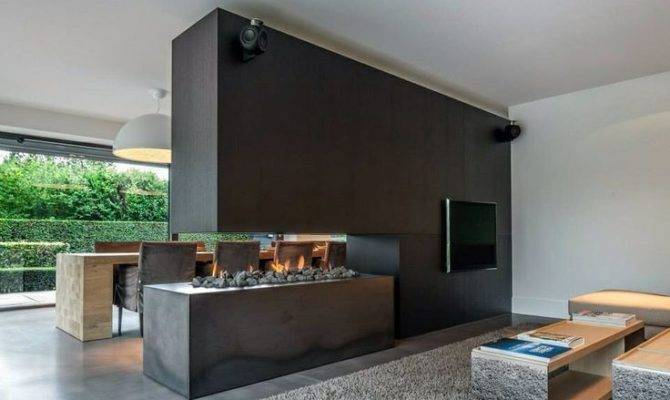Fireplaces Room Dividers Double Sided Design Ideas