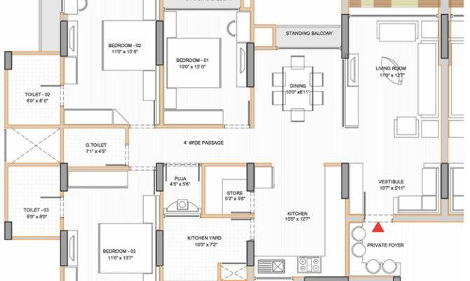 Flat Bedroom House Plans