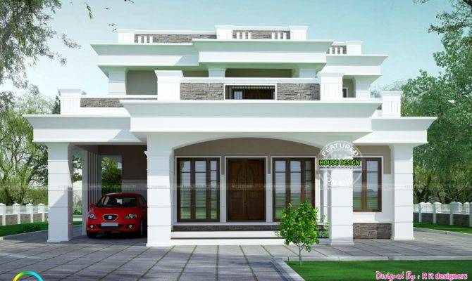 Flat Roof Box Type Home Kerala Design
