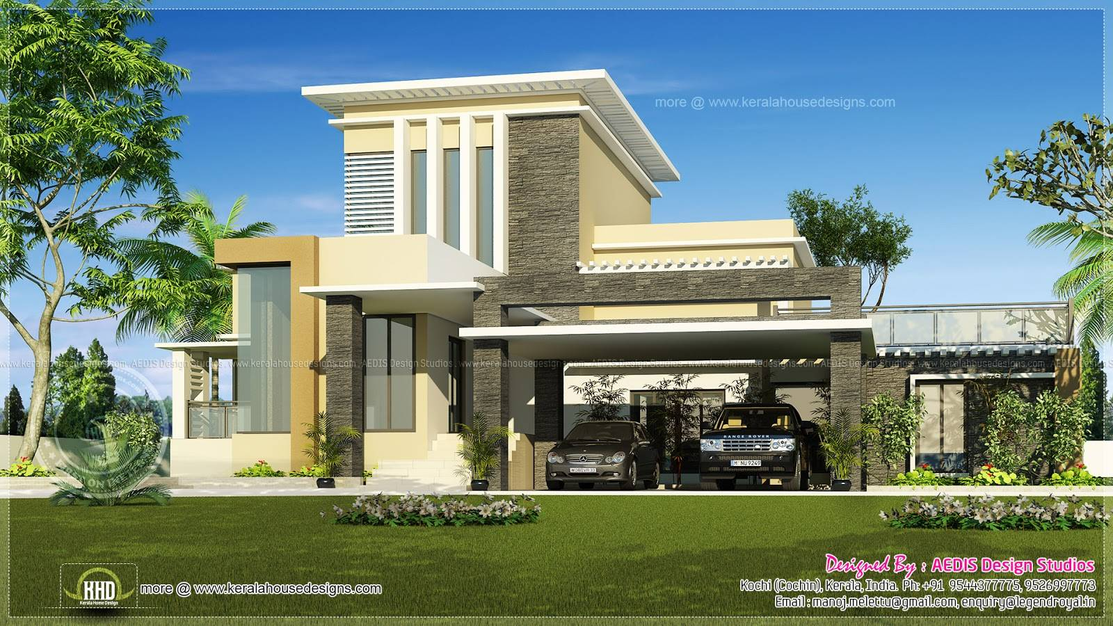 Flat Roof Contemporary Home Kerala