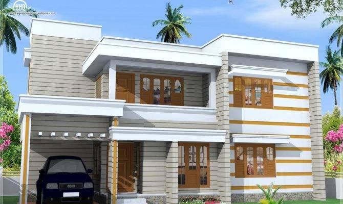 Flat Roof House Exterior Feet Design Plans